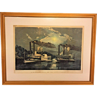 """1863 Currier & Ives Lithograph """"A Midnight Race on the Mississippi"""" Large Folio  Framed & Matted by M W Forsyth Philadelphia PA"""