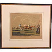 19th Century Horse Racing Lithograph Engraved by H Alken & T Sutherland The High Mettled Racer - The Racer Matted & Framed by Newman Galleries Philadelphia PA