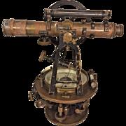 Antique Surveyor Transit F Weber & Co Philadelphia PA Brass with No Tripod or Case Early 1900s
