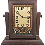 Vintage Art Deco New Haven Shelf Clock Wood Case Beautiful Glass Face 12 Day Jeweled Mvmt Running Time Only