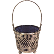 Antique Sterling Silver Basket with Long Handle Blue Cobalt Composite Insert