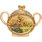 Antique Sadler Porcelain Sugar Bowl Pattern # 1713 Hunt Scene Made in England