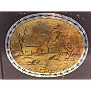 Antique Early 19th Century Reverse Painting of Hunting Scene w/ Hunter & Deer Previous Owner Documentation on Back of Piece
