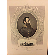 Antique 1865 General Stonewall Jackson Print Colored Commemorative Ltd Edition Piece Framed Civil War Virtue & Yorston NY