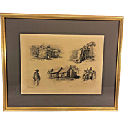 "Antique Edwin Forbes Civil War Related Engraving Etching 1876 Plate #10 Professionally Framed ""Got Any Pies for Sale Aunty, A Picaninny"""