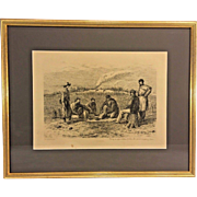 "Antique Edwin Forbes Civil War Related Engraving Etching 1876 Plate #35 Professionally Framed ""Trading for Tobacco and Coffee"""