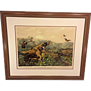 1857 Currier and Ives Lithograph A Chance for Both Barrels American Field Sports Framed & Matted