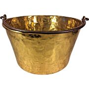 Antique Large Hand Hammered Brass Bucket w/ Handle 19th C