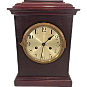 Vintage Schlenker-Kienzle Mantel Clock Time & Strike  No Pendulum Not Running Silver Face Brass Bezel Germany