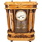 Antique Samuel Marti Clock w/ Bronze Curved Embossed Plates on Top & Bottom Goldish Brown Marble Case w/ Matching Columns Unique Crystal Regulator Case Embedded Within Not Running Nice Project Clock Here Very Unique Case