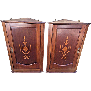 Antique Matching Pair of Federal Style Inlaid Trim and Urn Design Corner Hanging Cupboards with Lock and Key