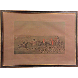 "Antique F C Lewis Engraving after Henry Alken ""The Quorn Hunt, The Death"" (2 of2)  Framed in England Early 1900s"