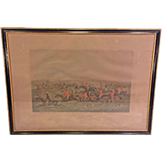 "Antique F C Lewis Engraving after Henry Alken ""The Quorn Hunt, Tally Ho and Away""  Framed in England Early 1900s (1of 2)"