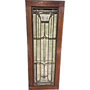 Antique Leaded Beveled Clear Glass Panel Window in Old Wood Frame All Intact No Hairlines or Blisters