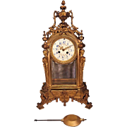 Antique L Marti Crystal Regulator Clock Porcelain Face Not Running Beveled Glass  Missing Back Glass and Bottom of Back Door  Not Appropriate Pendulum