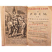 Paradise Lost 1738 John Milton 15th Edition  London Publishers J & R Tonfon Nicely Illustrated Antique Classic Book