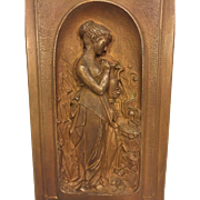 Antique French Bronze Figural Wall Plaque High Relief of Woman Holding an Urn in a Field    Initials and Numbers on Back