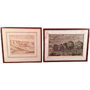 2 Village Engravings in Matching Frames One is a Hand Colored One of a Castle