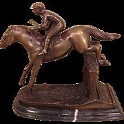 Vintage Delaware Park Bronze Sculpture of Horse Jumping over Fence Marble Base