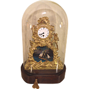 Vintage French Look Rocking Ship Automaton Clock with Glass Dome Wood Base and Legs Running Condition