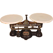 Antique Double Pan Balance Scale Ohaus Fisher USA Milk Glass Pans