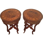 Vintage Marquetry and Gilded Side Tables Beautifully Detailed Top & Lower Shelf