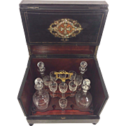 Vintage Tantalus Case w/ Crystal Decanters and Glasses Mother of Pearl and Brass