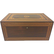 Vintage Large Inlaid Marquetry Wood Box with Brass Lock (No Key) and Hinges Beautifully Detailed