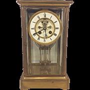 Antique Vincent Et Cie Crystal Regulator Clock Enameled Dial Open Escapement Running & Striking Faux Mercury Pendulum 1890s