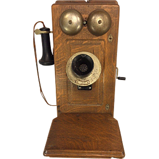 Antique Western Union Oak Hand Crank Wall Telephone