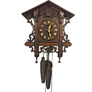 Antique German Cuckoo Clock w/ Weights and Pendulum  Rocking Cuckoo Bird Brass Movement Running and Striking