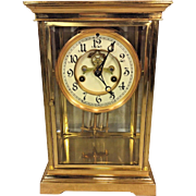 Vintage Waterbury Crystal Regulator Clock Porcelain Face Faux Lead Pendulum Runs & Strikes