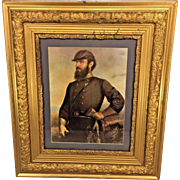 Vintage Stonewall Jackson Lithograph in Gold Gilt Frame  by Famous Confederate Artist John Adams Elder