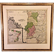 Johanne Bapt Homanno (Homann) Hand Colored  Antique 1702 Map of Portugallia et Algarbia & Brasilia (South America)