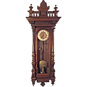 Antique Gustav Becker Vienna Regulator Wall Clock 3 Weights 1876 Beautiful Wood Case  Incised Weights & Pendulum Bob Running Striking & Chiming