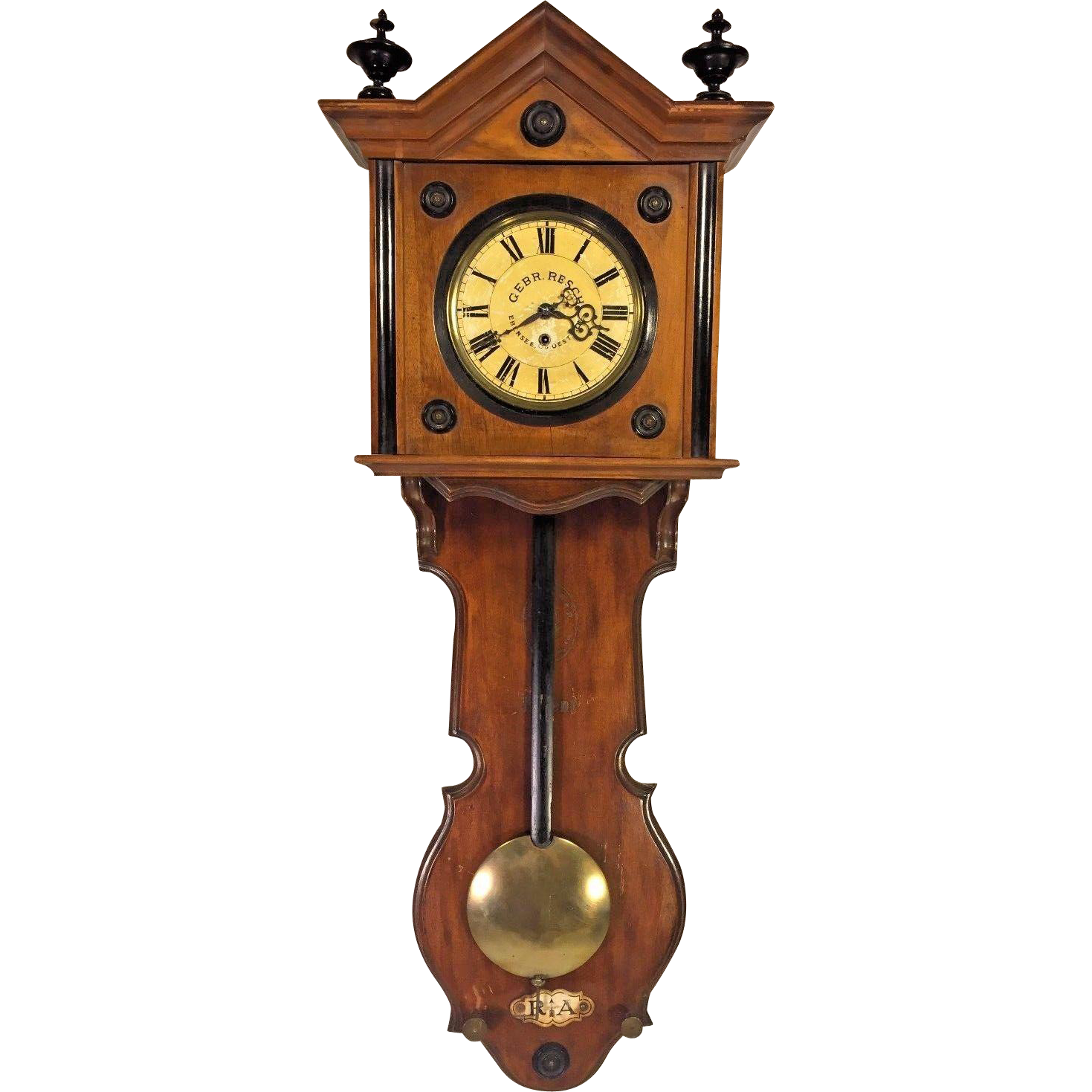 Antique gebrueder resch free swinger wall clock time only great antique gebrueder resch free swinger wall clock time only great wood case broken wood pendulum shaft late 1860s to early 1870s runs amipublicfo Choice Image