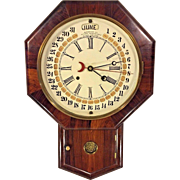 Antique Gilbert 1860s Wall Clock w/ Joshua Maranville Calendar Option Rosewood Veneer Case Runs
