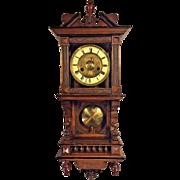 Antique HAC Miniature Vienna Wall Regulator Open Well Clock Porcelain Face Not Running