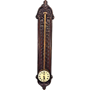 Vintage Black Forest Look Saw Clock Anno 1750 on Carved Wood Backer Board Not Running Germany