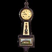 Vintage Sessions Banjo Clock Time & Strike Mt Vernon Scene Tablet Runs & Strikes