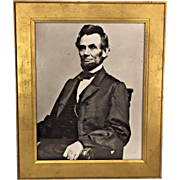Antique Abraham Lincoln Print of Famous Photo  in Gold Colored Wood Frame