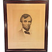 Antique Abraham Lincoln Stone Lithograph Print Joseph Roderfer DeCamp L Prang in Frame Circa 1897