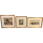 3 French Hand Colored Engravings of Hot Air Balloons 19th C Set # 3 of 3 Framed by Washington Square Gallery Ltd of Phil, PA