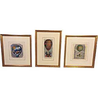3 French Hand Colored Engravings of Hot Air Balloons 19th C Set # 1 of 3 Framed by Washington Square Gallery Ltd of Phil, PA