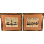 Pair of Antique French Color Engravings Ports of France Yves-Marie Le Gouaz Engraver Early 1800s Set #2
