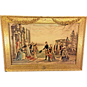 George & Martha Washington Returning to Mt Vernon Antique Color Lithograph Jennie Brownscombe 1910 Beautfiul Gold Gilt Wood Frame