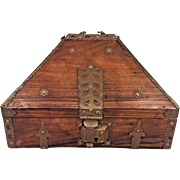 Antique Teak Box with Pointed Dome Inside Drawer Lock Brass Hardware