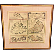Antique Map of the English Island Domains of America Cartographer Homanno, Viis & Co 1655 Jamaica Barbados Antigua Bermuda St Christopher Islands