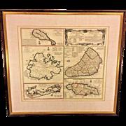 Antique Map of the English Island Domains of America Cartographer Homanno, Viis & Co 1655 Jamaica Barbados Antigua Bermuda St Christopher Islands