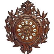 Antique German Black Forest Wall Clock Carved Walnut Not Running Time & Strike Brass Mvmt No Pendulum Porcelain and Brass Numbering
